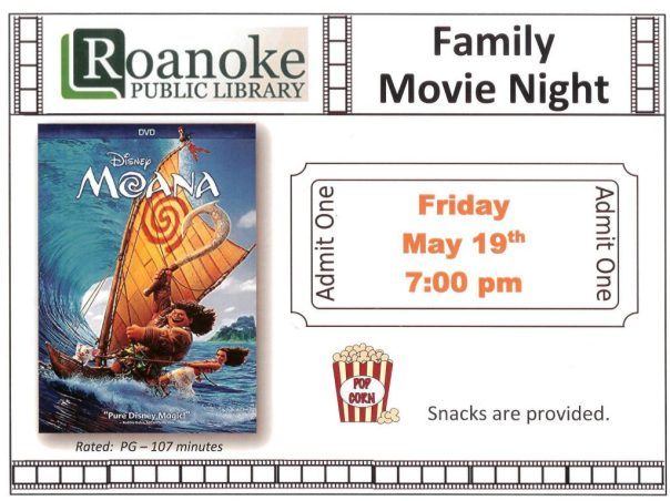"Flyer for Family Movie Night on May 19, 2017 featuring ""Moana"" at 7 pm."