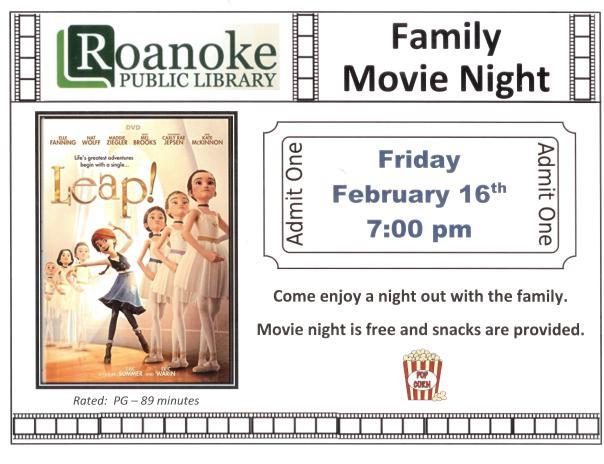 Family Movie Night Friday February 16th 7:00 pm. Come enjoy a night out with the family. Movie night is free and snacks are provided. Rated PG-89 minutes.