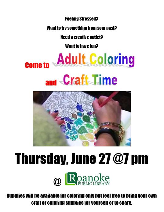 Adult coloring and craft time June 2019