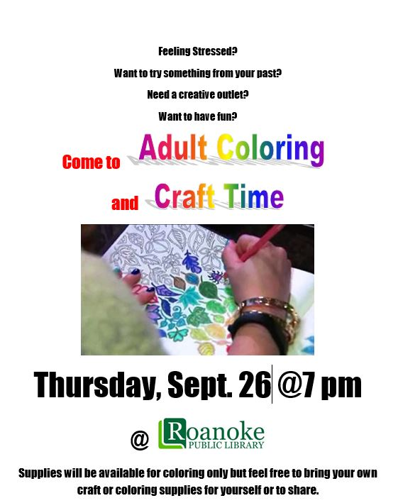 Adult coloring and craft time on Sept. 26 @7pm