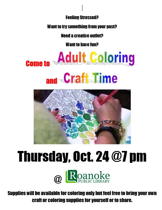 Adult Coloring and Craft Time Oct. 2019