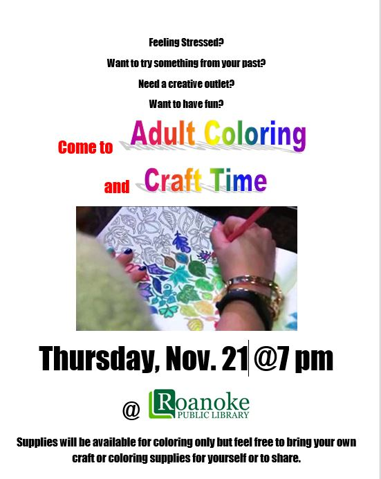 Adult Coloring and Craft Time on Nov. 21