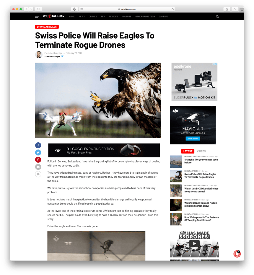 A news about Swiss Police use eagles to terminate drones