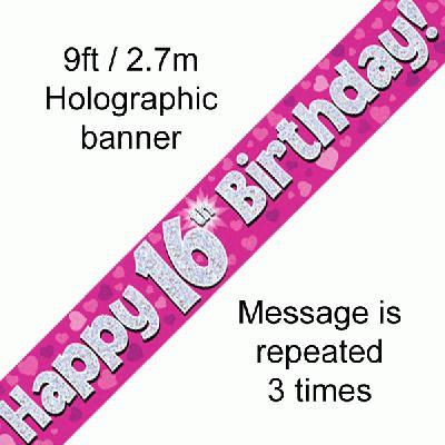 16th Birthday Pink banner