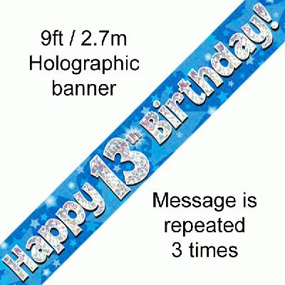 13th Birthday Blue Banner