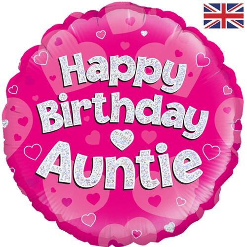 18 Inch Round Happy Birthday Auntie Pink Sparkle Balloon