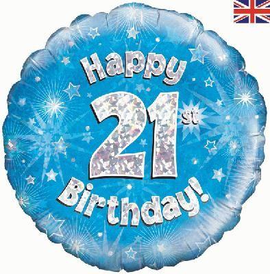18 inch round 21st Sparkle Blue Birthday balloon