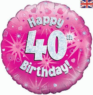 18 inch round 40th Sparkle Pink Birthday balloon
