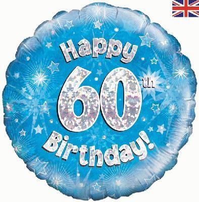 18 inch round 60th Sparkle Blue Birthday balloon