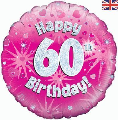 18 inch round 60th Sparkle Pink Birthday balloon