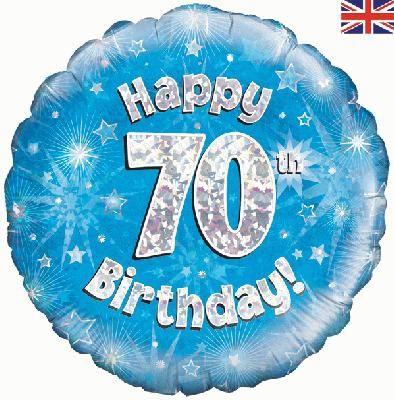 18 inch round 70th Sparkle Blue Birthday balloon.