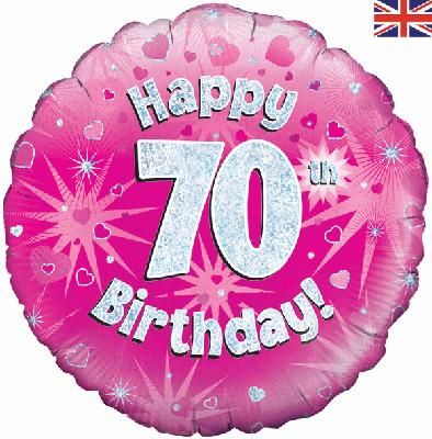 18 inch round 70th sparkle pink birthday balloon