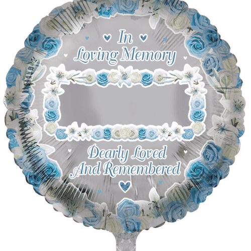 Personalisable Remembrance Round Blue Balloon