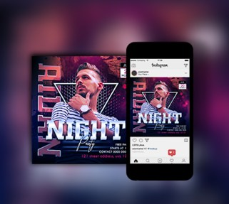 Night perty flyer design. Saifbrand