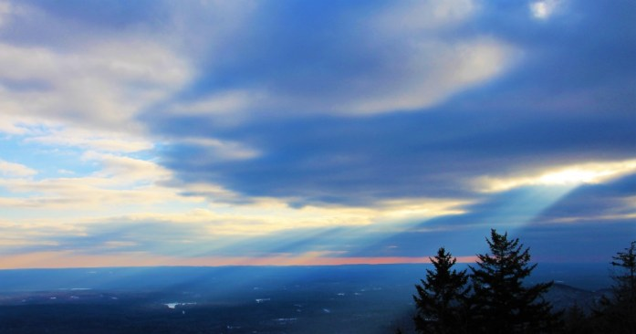 Sun's rays end of day of Mt. Monadnock hike