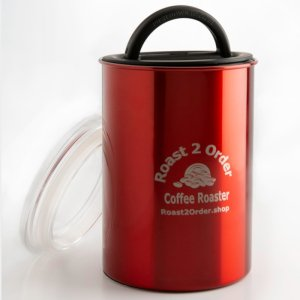 Keep your beans fresh in a Red air-tight coffee storage canister with lid