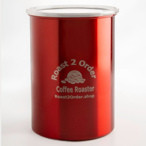 Red air-tight coffee storage canister for fresh coffee