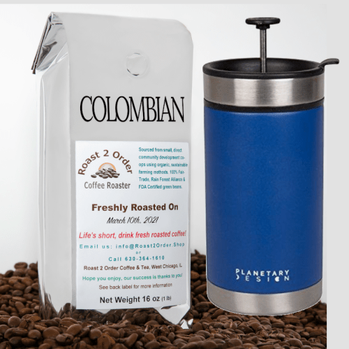 20oz Insulated Travel French Press and a pound of coffee bundle