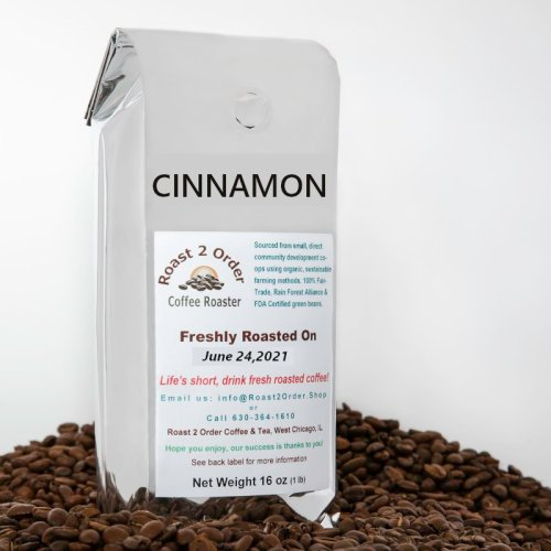 Cinnamon flavored whole coffee beans