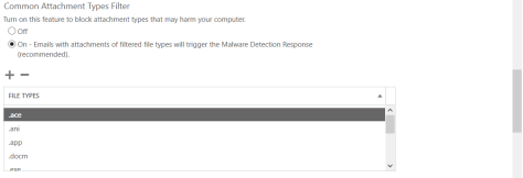 O365 Exchange Online Malware Attachment Types