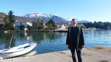 View from Tivat waterfront to the mountains