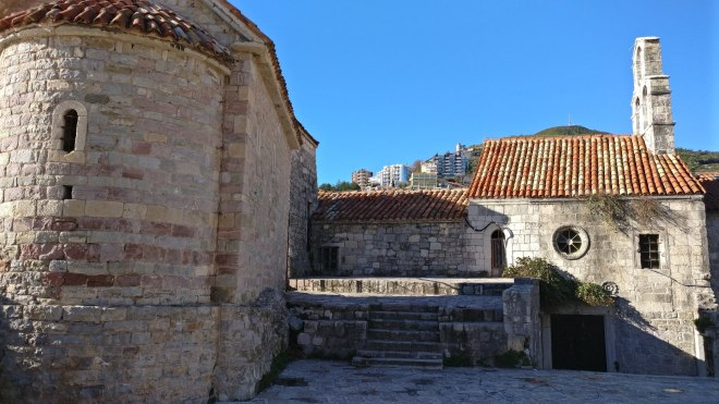 Budva old town by the church