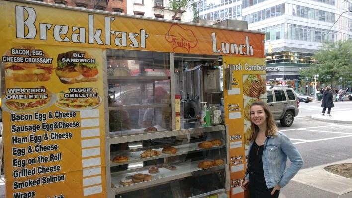 Breakfast at a food cart