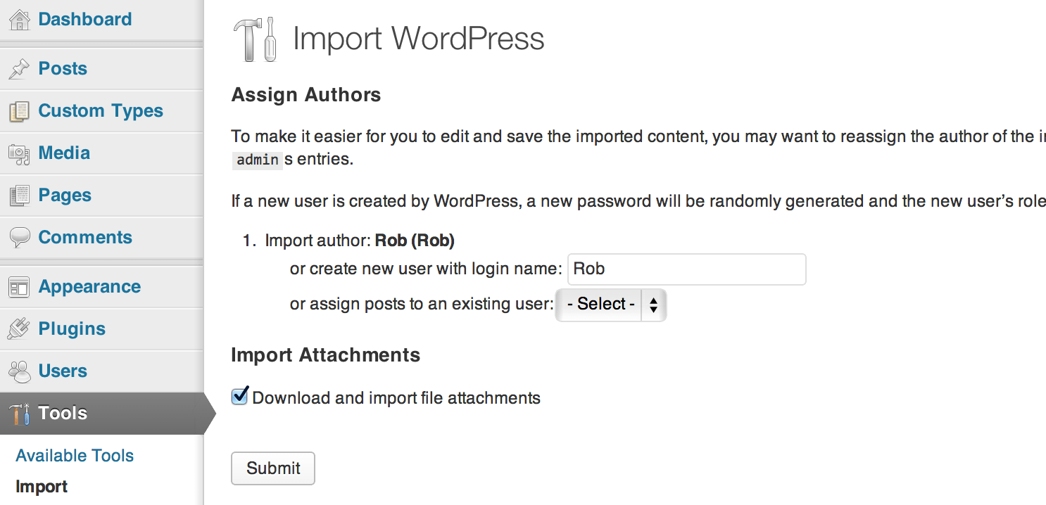import page