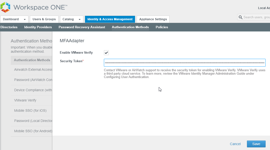 Security solution: Howto setup VMware Verify to enable two