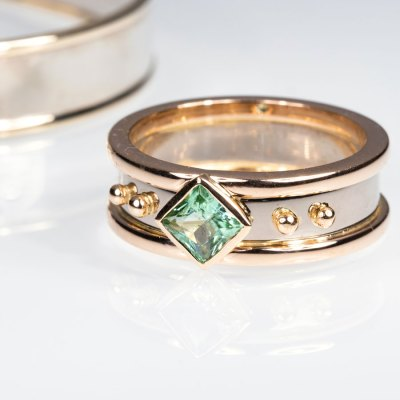 Two-tone tourmaline ring
