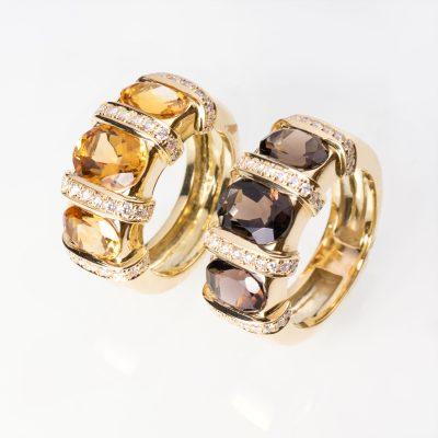 Citrine, smoky quartz & diamond rings