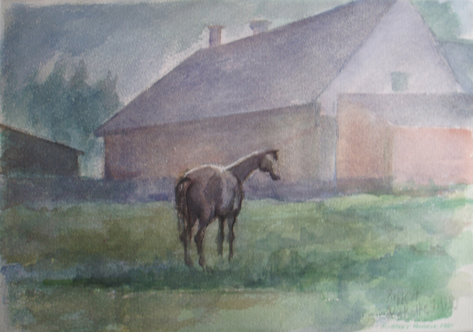 Robbert Ruigrok, 'Horse at Farmhouse', 1980. Watercolour on Paper.