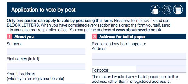 Postal vote application form for 2017 election.