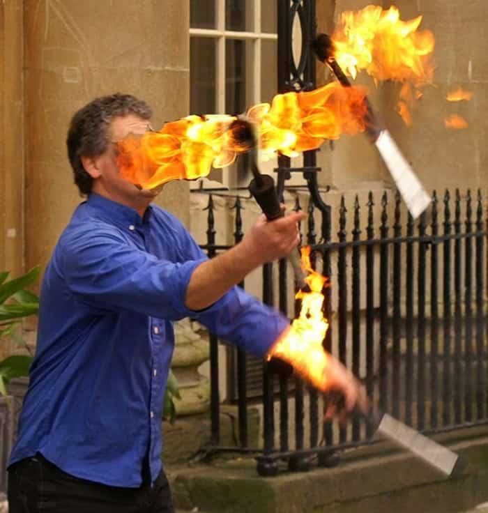 Image of a fire juggler