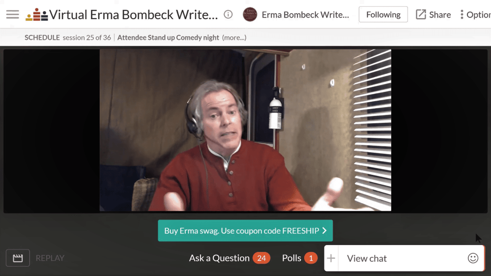 Screenshot of Robb Lightfoot performing a virtual standup at the 2020 Erma Bombeck Writers' Workshop