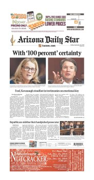Arizona Daily Star Newspaper front page: #KavanaughHearings