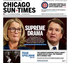 Chicago Sun-Times Newspaper front page: #KavanaughHearings