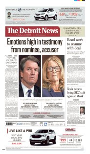 The Detroit News Newspaper front page: #KavanaughHearings