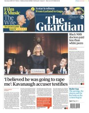 The Guardian Newspaper front page: #KavanaughHearings