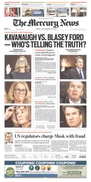The Mercury News Newspaper front page: #KavanaughHearings