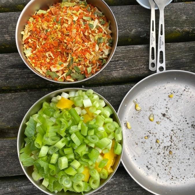 Closeup camping food