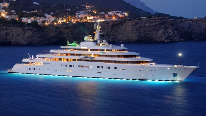 Private white luxury Superyacht Eclipse anchored off the beach. Ibiza, Balearic Islands, Spain. Summer, 05.07.2011; Shutterstock ID 1059530906; Notes: top 20 largest yachts in the world