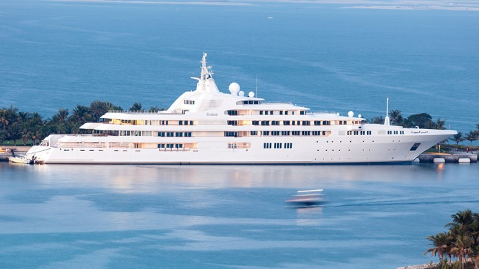 DUBAI UAE - DEC 16: Dubai - yacht of the Sheikh Mohammed bin Rashid Al Maktoum the ruler of the Emirate of Dubai. December 16 2014 in Dubai UAE