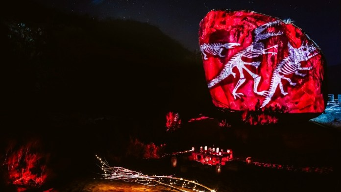 rock mapping light show Los Cabos