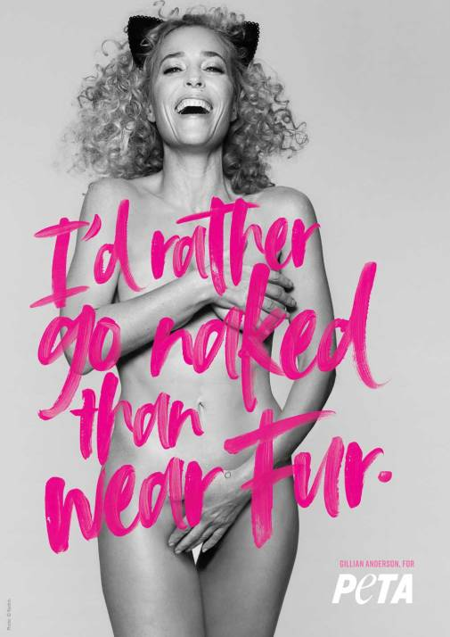 Gillian Anderson Rather go Naked For Web - La extinción de las pieles en la industria de la moda continúa creciendo