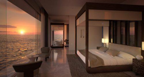 master bedroom 1920x800 500x268 - Hospédate en la primera villa submarina y duerme como pez en el agua