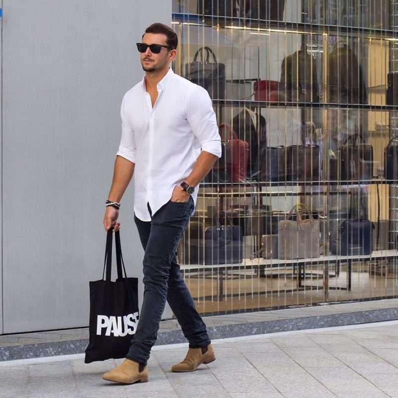 white shirt mens street style 800x800 - Te contamos TODO sobre cómo vestir bien una camisa blanca