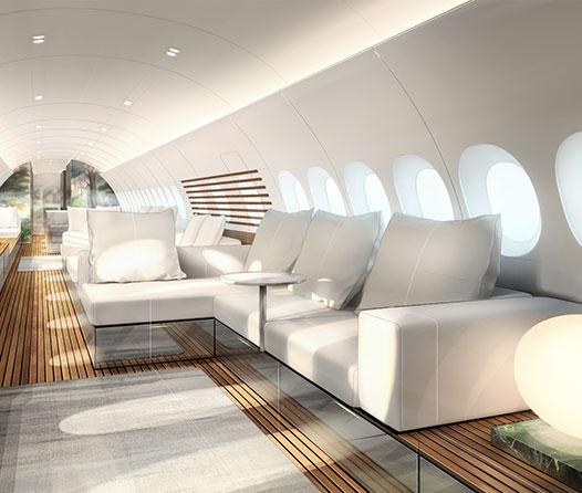 No es un yate de lujo, es la cabina VIP para un Airbus A220