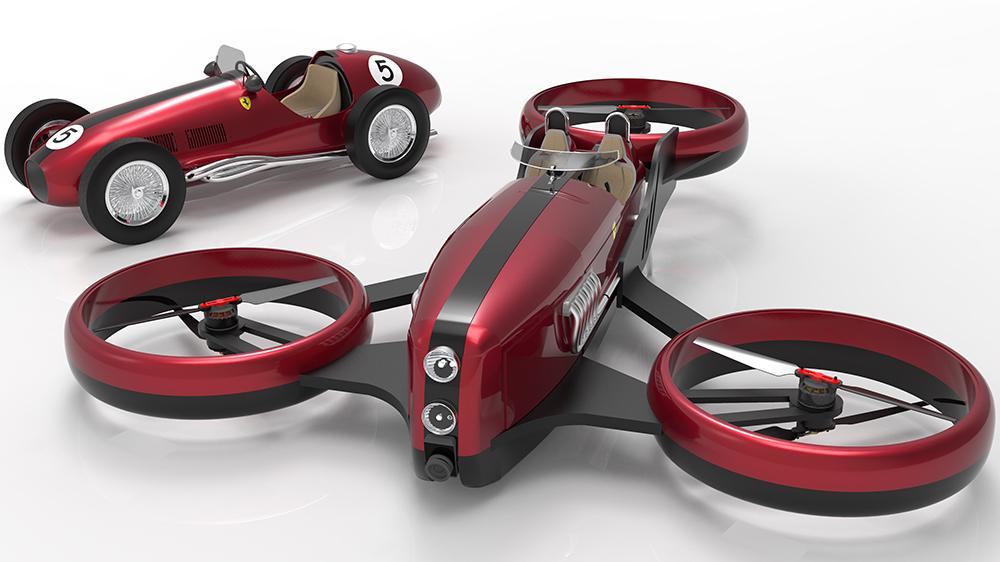 Este nuevo y elegante vehículo volador fue inspirado por los antiguos autos de Ferrari