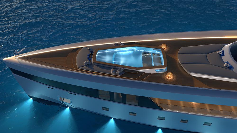 El yate Project Comète, con piscina  de fondo de cristal y dos jacuzzis, hará que te olvides del mar